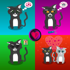 Four Illustrations - cartoon cats and Valentines Day