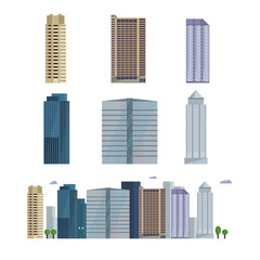 Fototapeta Office city building. Downtown landscape, skyline. Office Buildings vector illustration.