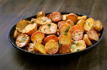 Fried potatoes in a frying pan
