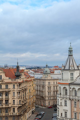Prague, Czech Republic, Old Town in a retro style winter, cold toning. color images of Europe with space for text.