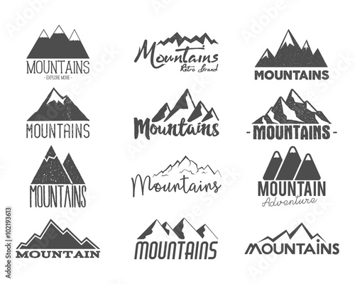 hand drawn mountains badge wilderness old style typography label