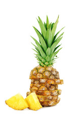 Ripe pineapples isolated on a white