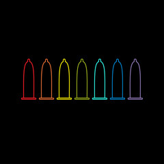 Condom rainbow line icon set. Protection. Black background. Flat design.