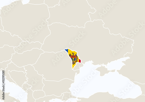 Europe With Highlighted Moldova Map Stock Image And Royalty Free