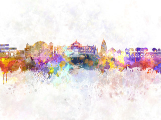 Wall Mural - Jaipur skyline in watercolor background