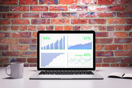 Laptop Screen with various financial charts