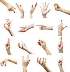Set of female hands gestures, isolated on white