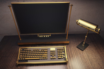 Typewriter Steampunk on a wooden table with lamp