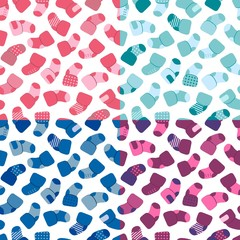 Vector seamless pattern set for web design, prints etc. Repeating background with little socks can be copied without any seams. Children theme.