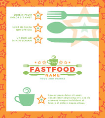 Menu with green logo with word Fast Food, design elements spoon and fork at a white background. Design template for restaurant, cafe and canteens. Vector Illustration.
