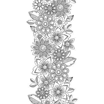 Vector doodle flowers seamless border. Botanical and flower decorative element. Vector illustration