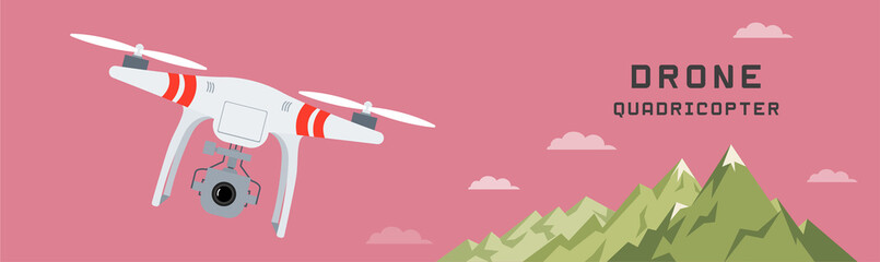 drone with a camera photography or video , flat design , landscape background