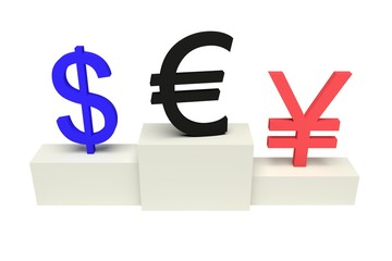 top currencies, strong Euro, isolated