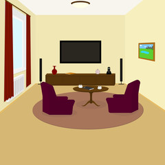 the interior of the living room TV on the wall, chairs, coffee cups on the table, Notepad, phone, watch, book, vase, painting on the wall, carpet on the floor
