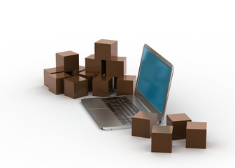 Online shopping and shipping the products concept