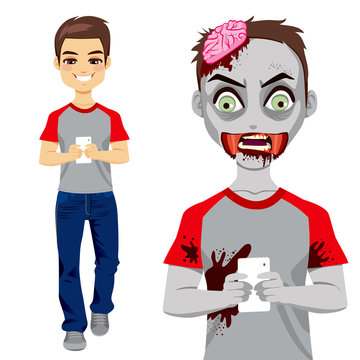 Man walking and texting with smartphone and turning into a zombie