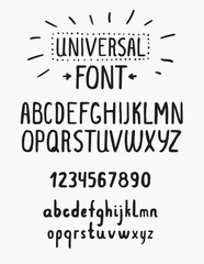 Line simple font. Universal alphabet with small and capital lett