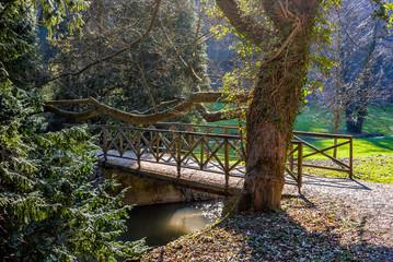 Opoćno, drewniany mostek, rzeka