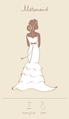 Wedding dress in mermaid style; vector illustration