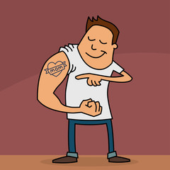 Funny cartoon of a young man showing his 'I love Mom' tattoo on his arm. Mothers Day card.