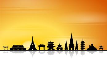 Asien Skyline Tempel