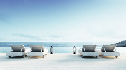 Beach lounge - Sundeck on Sea view / 3d render