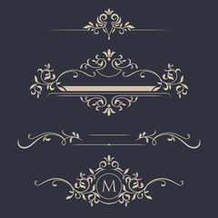 Decorative vector frame, monogram, border.