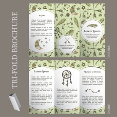 Boho brochure template with hand drawn elements