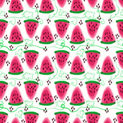 Seamless pattern of sweet juicy pieces watermelon watercolor wit
