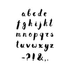 Alphabet and punctuation marks ink handwritten textured lettering. Hipster and vintage style. Perfect for your design!
