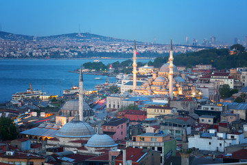 Aerial view of Istanbul in the evening, Turkey
