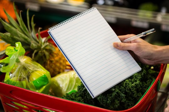 Close up view of a shopping list