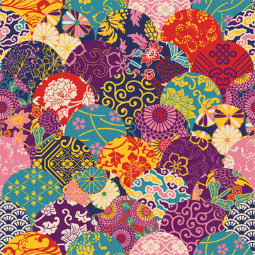 Eastern style fabric patchwork, vector seamless pattern