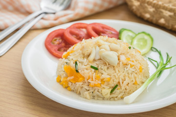Fried rice with crab and vegetables, Thai food