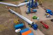 Luftbild der Errichtung einer Windenergieanlage Stern Montage