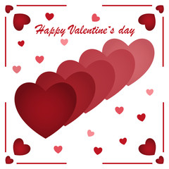 Happy Valentine's Day, red hearts on a white background