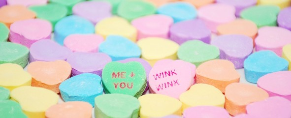 Colorful Valentine's Day candy hearts