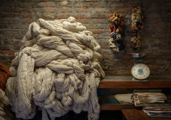 Plain wool before dyeing in a rug factory