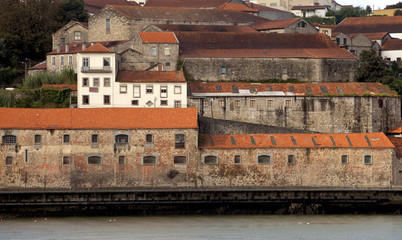 Warehouses in Porto. Many warehouse building can be found in Porto, Portugal. They house the famous liquor that Port is know for.