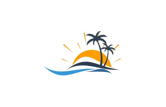 beach sunset holiday logo