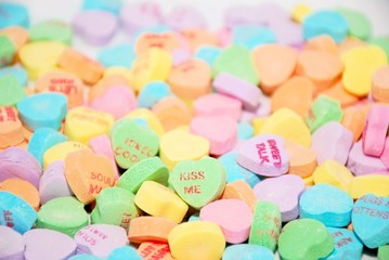 Colorful background of conversation hearts, great for Valentine's Day projects