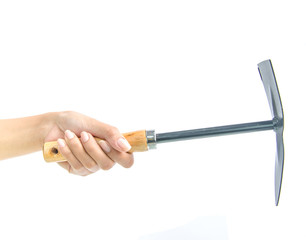 Hand with Garden tool instument on white background