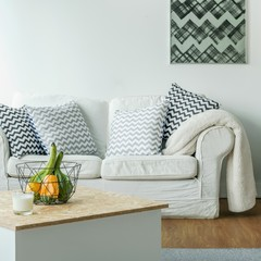 Cozy sofa with pillows