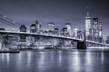 View of Manhattan  and  Brooklin Bridge by night, New York City