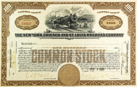 Alte amerikanische Eisenbahn-Aktie