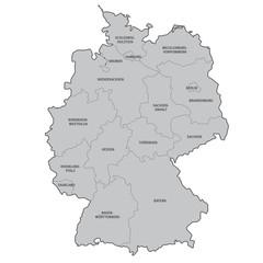 deutschland bundesländer beschriftung karte vektor