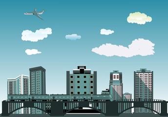 bridge and train,City buildings view vector illustration, buildings, ,bridges, trains, Blue sky on background. 3D arcitecture