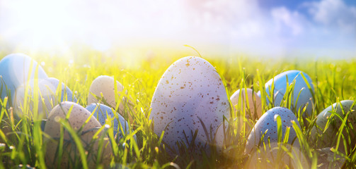 Fototapete - art Colorful Easter eggs on the grass on blue sky background