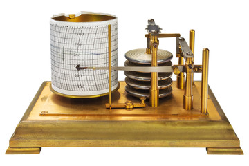 Vintage barograph isolated on white