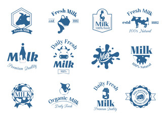 Milk label logo badges collection vector icons